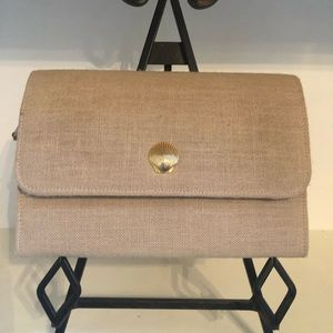 Classic All Linen Beige Clutch w/ Gold Shell Clasp